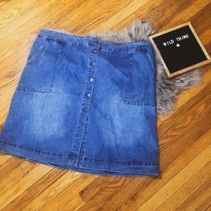 Button down denim skirt plus size blue 4x trendy